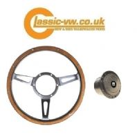 Light Wood & Chrome Steering Wheel With Wolfsburg Crested Boss